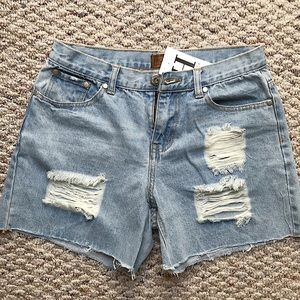 Distressed Denim Shorts - Light Wash